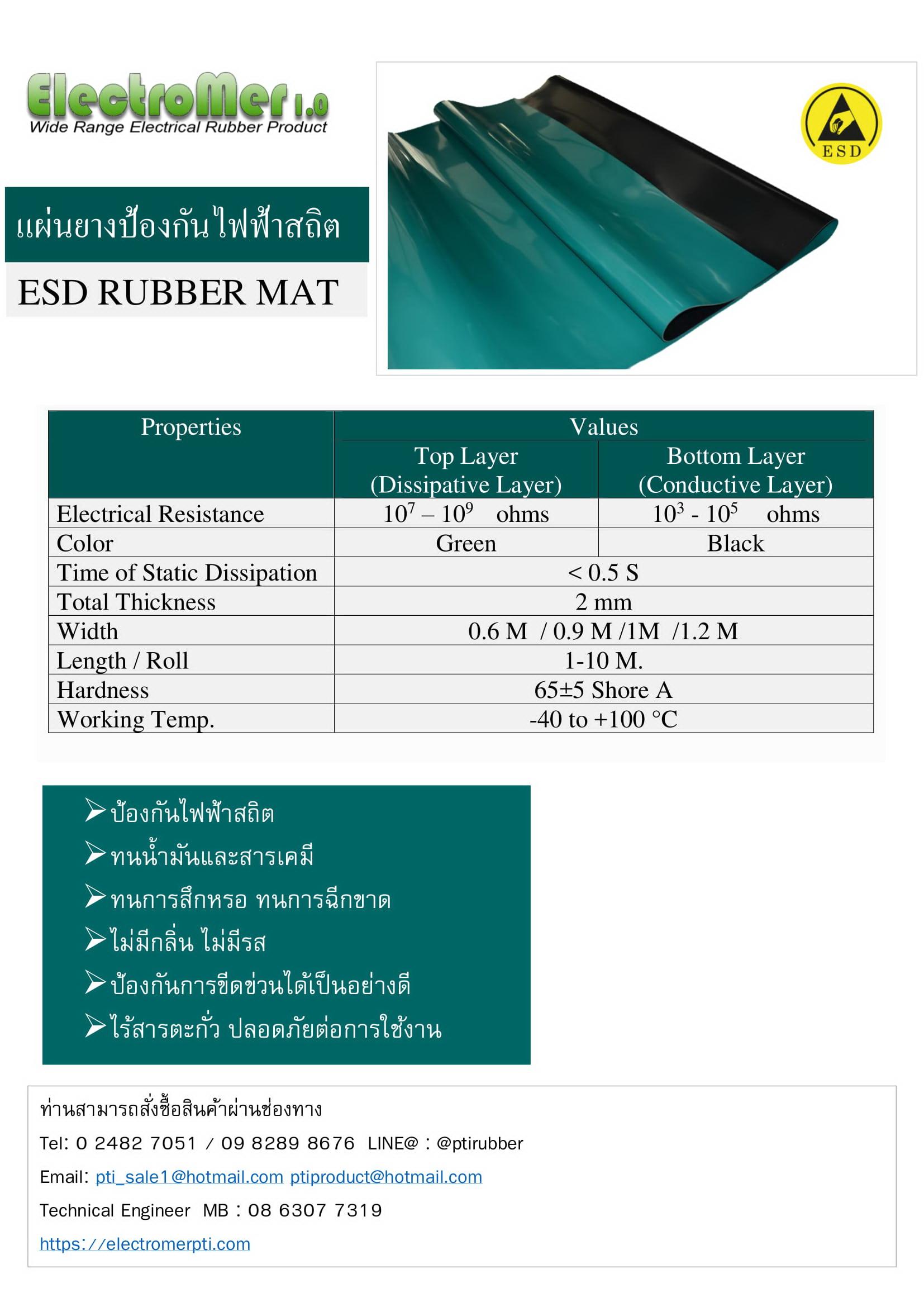 แผ่นยางป้องกันไฟฟ้าสถิตย์ ESD.สีเขียว-1