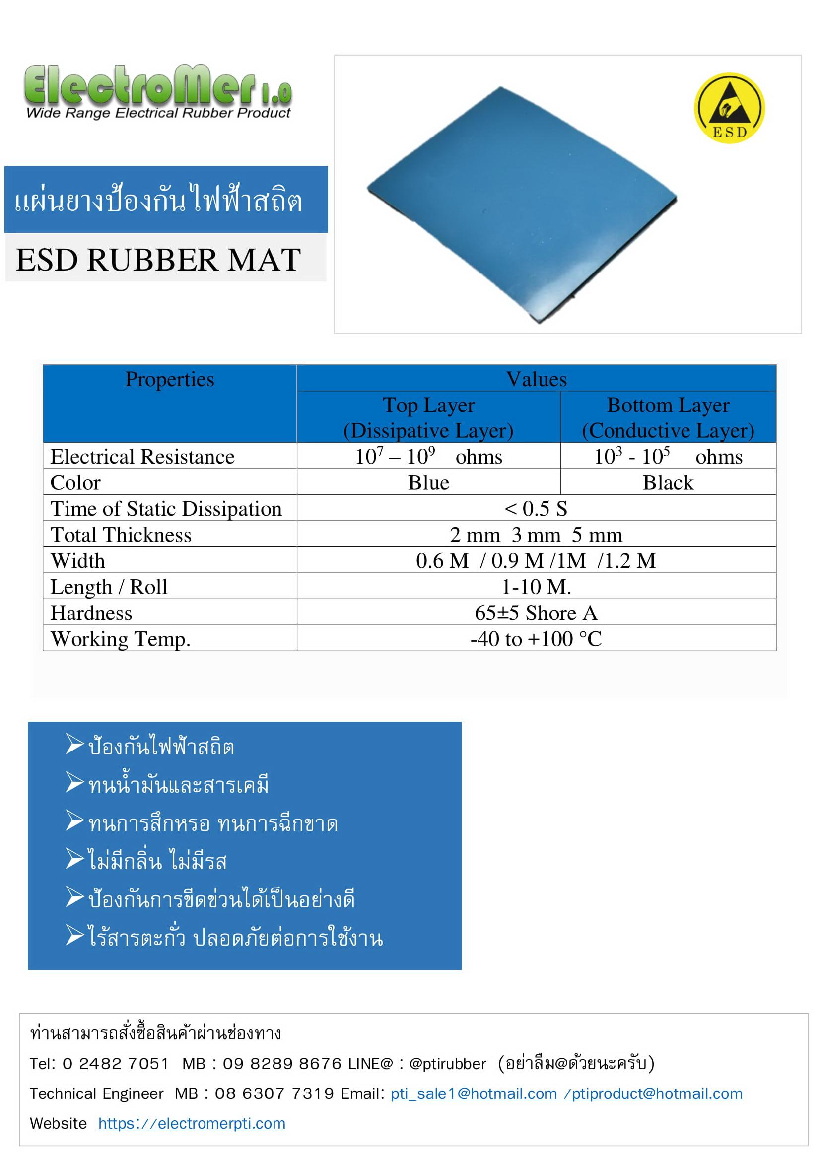 แผ่นยางESD สีฟ้า แผ่นยางกันไฟฟ้าสถิต-1